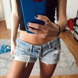 American Eagle distressed low rise denim shorts